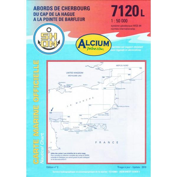 CARTE MARINE SHOM 7120L ABORDS CHERBOURG DU CAP HAGUE alciumpeche