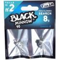 2 tetes plombees FIIISH Search - 8g - Kaki - BLACK MINNOW 90
