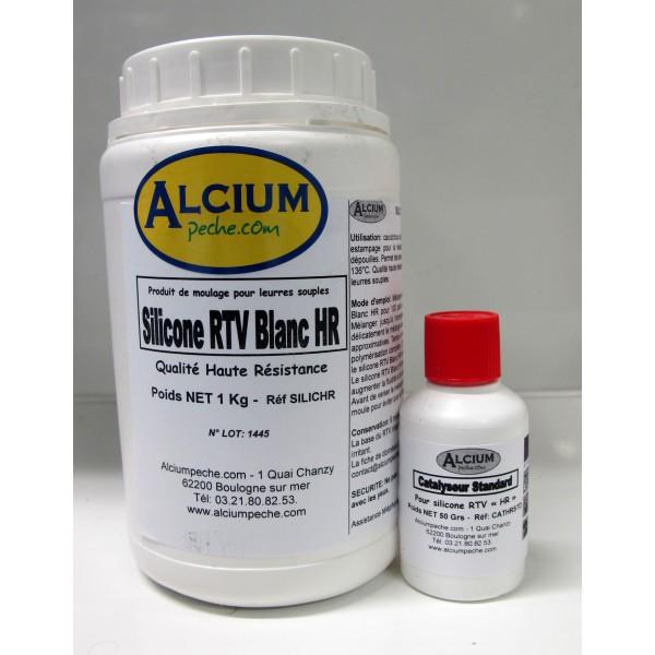 Silicone RTV Blanc HAUTE RESISTANCE HR 1kg avec durcisseur 50g alciumpeche