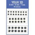 POCH 40 YEUX 3D ARGENT 5-6-7 mm  pour LEURRES, MOUCHES ou TETES PLOMBEES