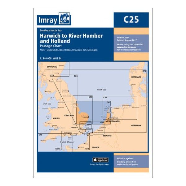 CARTE MARINE IMRAY C25 HARWICH TO RIVER HUMBER AND HOLLAND alciumpeche